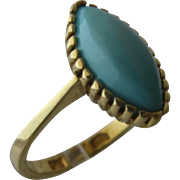 14K  Turquoise Ring by Uno A-Erre Italy Size 6