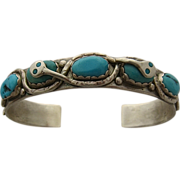 SOLD Efffie Calavaza Zuni Snakes Cuff Bracelet Sterling Turquoise Sz 6 1/4