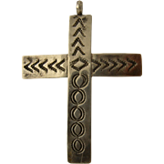 Vintage Navajo Sterling Cross Pendant w/ Stamp Work