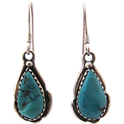 Vintage Navajo Turquoise Sterling Drop Earrings