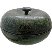 Japanese Round Laquer Box w/ Lid Arabesque Design Green on Black