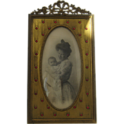 SOLD Ca 1900 Gilded Brass Jeweled Frame Easel Bow Top