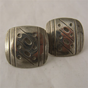 Jorgen Jensen Handmade Pewter Clip Earrings 1960s