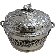 1860s S. Kirk & Son Heavy Coin Silver Ornate Repousse Covered Bowl