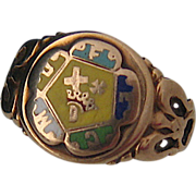 Old Masonic Knights Templar Eastern Star 10K Ring Sz 4 1/4