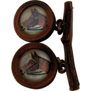 Hand Painted Glass Horse Head Leather Cufflinks Ca 1940s