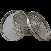 7 Elegant Lunt Sterling Cut Crystal Coasters 1930s