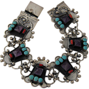 """Big Taxco Sterling Bracelet w/ Amethyst Turquoise Coral 9"""""""