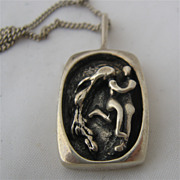 Gerald Stinn Modernist Sterling Pendant Necklace Couple