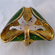 SOLD Old Bohemian Flashed Glass Heavy Gilt Enamel Jeweled Dish