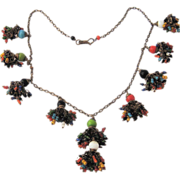 Ca 1930 Multicolor Glass Brass Tassels Necklace