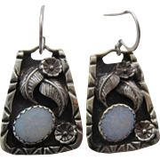 Vintage Navajo Sterling Opal Earrings Hand Wrought Artist Signed