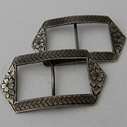 Pair Engraved Sterling Sash Buckles Pryor Mfg Co ca 1915