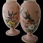 Ca 1880s Pair Smith Bros or Mt Washington Art Glass Vases Birds