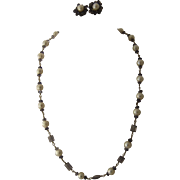 Sterling Wire Natural Pearls Iolite Bead Necklace Earrings Set