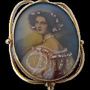 1920s-40s 14K Portrait Miniature Woman in Pink Pin Pendant