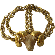 """SOLD 1970s Razza Aries Ram Necklace Gold Tone Resin 33"""""""
