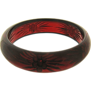 Deco Reverse Carved Cherry Juice Red Bakelite Bangle Bracelet