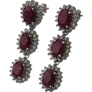 Spectacular Rubies & Diamonds Dangle Earrings in 14K White Gold