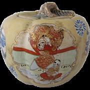 Late 1800s Satsuma Cracker Jar Moriage Gilt