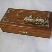 Wood Cigar Box w/ HP Parliament Building Belgrade Serbia MOP Inlay