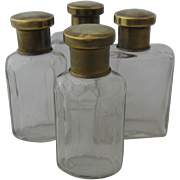 Set 4 Dresser Scent Bottles Brass Tops German 1930s