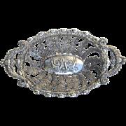 Antique German Solid Silver Bread Tray or Basket Naturalistic Rococo Design