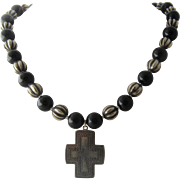 """Onyx & Silver Plated Beads Necklace Sterling Cross 18-22"""""""