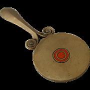 Arts & Crafts Small Hand Mirror Bronze Champlevé Enamel