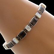 """Sterling Link Bracelet Smoky Quartz Mother of Pearl 7.5"""""""