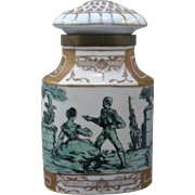 Spanish Porcelain Caddy or Dresser Jar Hand Painted w/ Brass Mounts