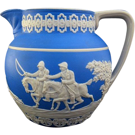 C. 1890s Copeland Spode Blue Jasperware Stag Hunt Milk Pitcher Creamer