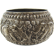 Old Burmese 950 Silver Repousse Bowl w/ Elephants in Forest