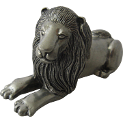 Kirk Stieff Pewter Lion Paperweight Figurine Retired