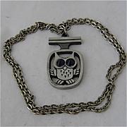 Mid Century Modern Swedish Owl Necklace Pewter Art Glass