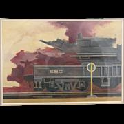 "1977 Jonathan Talbot Original Oil Painting ""SRC Train"""