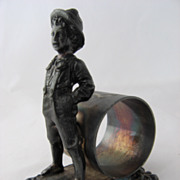 Victorian Tom Sawyer Figural Boy Napkin Ring Silver Plate