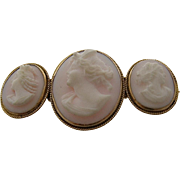Rare Ca. 1900 Triple Cameo Pin Brooch 14k Three Women
