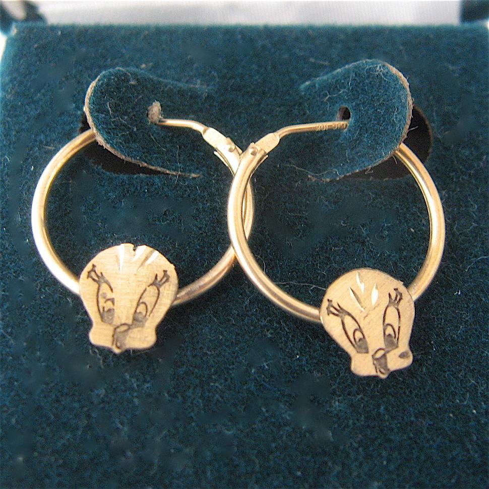 looney tunes 10k tweety bird earrings hoops in box from