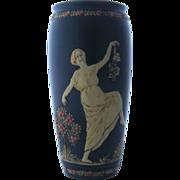 Weller Blue Ware Vase Classical Grecian Women 2 Scenes 10 Inches