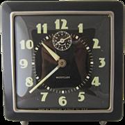 Westclox Spur Style Black Square Alarm Clock Luminous Dial Works
