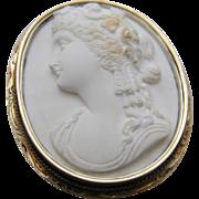 14K & Silver White Lava Cameo of a Bacchante Woman Victorian