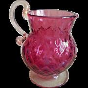 Fenton Cranberry Art Glass Pitcher Vase Vintage Diamond Optic Gold Flecks