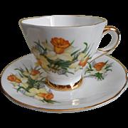 SOLD Daffodils Demitasse Cup Saucer Vintage Bone China Royal Windsor