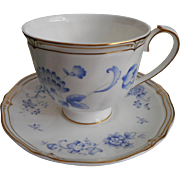 Wedgwood Ashbury Cup Saucer Blue White Gold