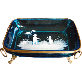 Mary Gregory Antique Dish Glass Brass Frame Turquoise Blue