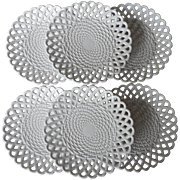 SOLD Sowerby Milk Glass Plates Antique English Set 6 Basket Weave