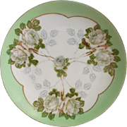 Hand Painted China Little Plate Bavaria Green White Roses