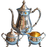 SOLD Tea Set Vintage Silver On Copper Sheridan Coffee Pot or Teapot Creamer Sugar Bowl