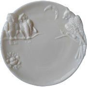 SOLD Owls Milk Glass Antique Plate Moon Lovers